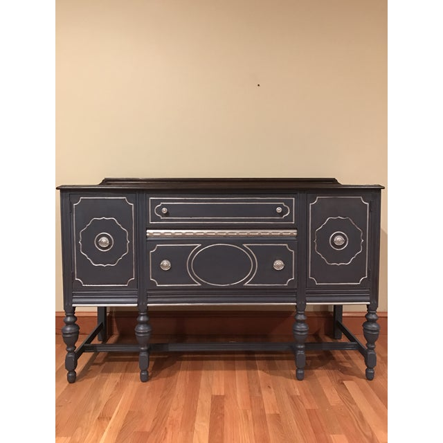 French Provincial Blue with Metallic Silver Accent Buffet / Sidebar - Image 2 of 4
