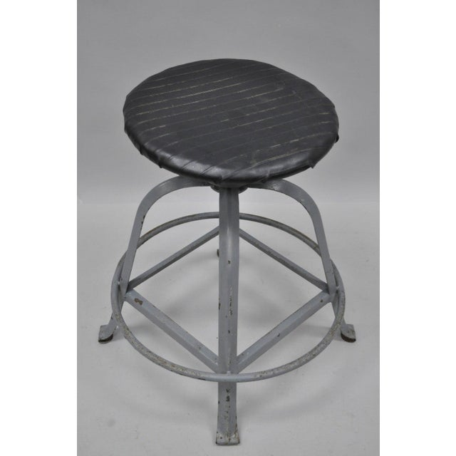 Antique American Industrial Grey Steel Metal Adjustable Work Stool For Sale - Image 9 of 10
