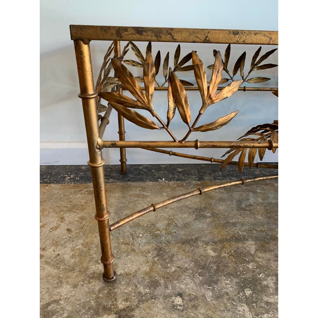 Mid 20th Century Vintage Hollywood Regency Gilded Metal Coffee Table W/Bamboo Leaf Design & Glass Top For Sale - Image 5 of 7