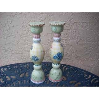 Stonehouse Farm Goods Hand Painted Candlesticks - a Pair Preview