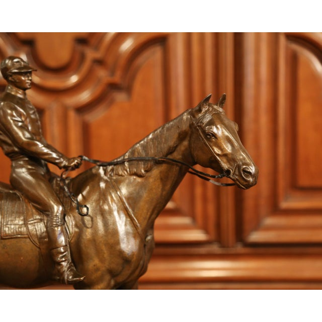 Figurative 19th Century French Bronze Racehorse and Jockey Sculpture Signed Paul Comolera For Sale - Image 3 of 13