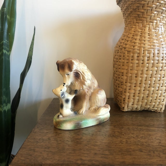 Cabin Vintage Ceramic Dog and Puppy For Sale - Image 3 of 6