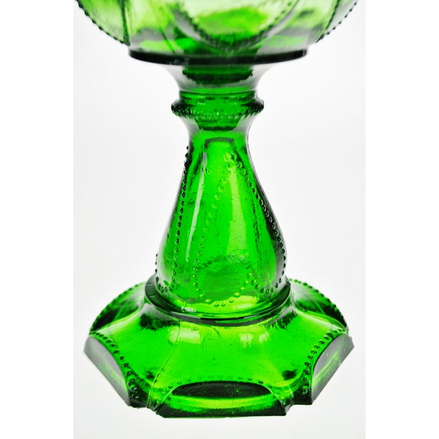 Glass Vintage Emerald Green Glass Oil Lamp W/ Heart Design For Sale - Image 7 of 12