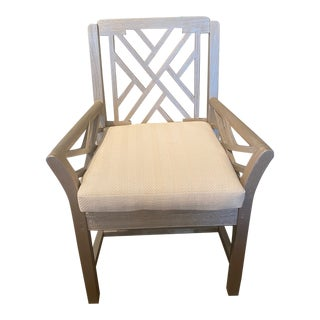 Silver Wash Teak Chair With Detachable Cushion For Sale