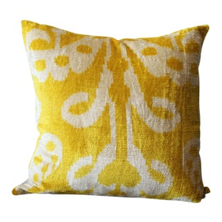 Yellow Velvet Silk Ikat Pillow For Sale