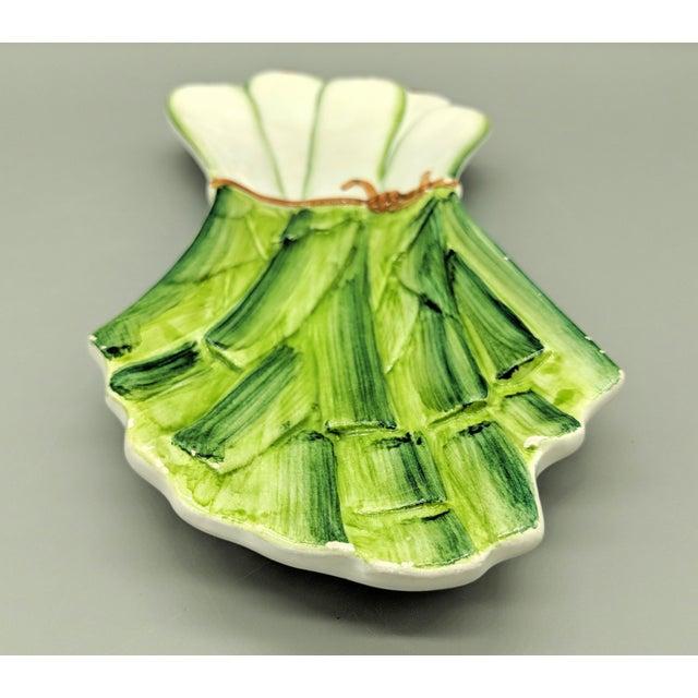 Farmhouse Italian Majolica Ceramiche Leonardo Leek Vegetable Tray For Sale - Image 3 of 10