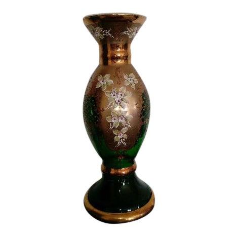 Vintage Bohemian Czech Green Glass Vase Chairish