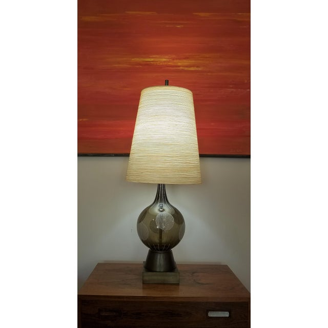 1960s Lotte and Gunnar Bostlund Hand Painted Glass Table Lamp For Sale - Image 10 of 11