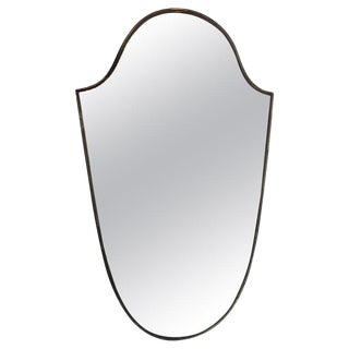 Brass Frame Italian Shield Mirror, 1950s For Sale