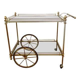 1980s Hollywood Regency Two Tone Gold and Copper Bar Cart For Sale