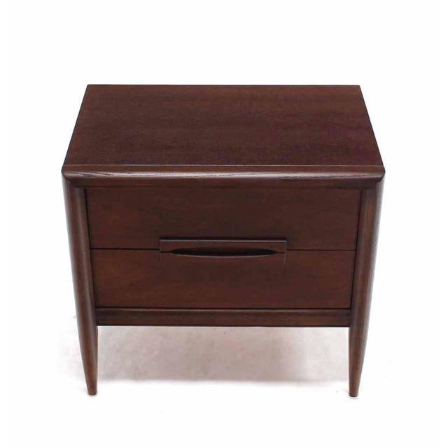 Pair of Walnut Mid-Century Nightstands For Sale - Image 4 of 8
