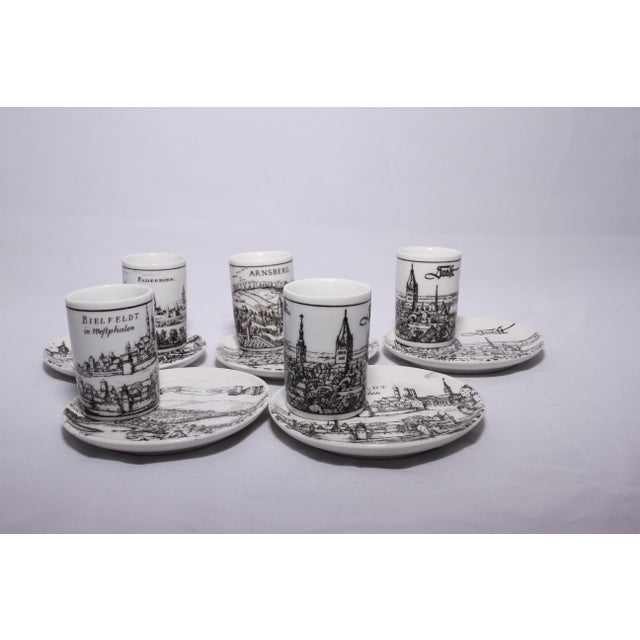 White Vintage German Porcelain Cups and Plates - Set of 5 For Sale - Image 8 of 11