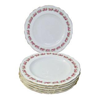 Antique Cauldon England Rose Border Gold Trim Plates - Set of 6 For Sale