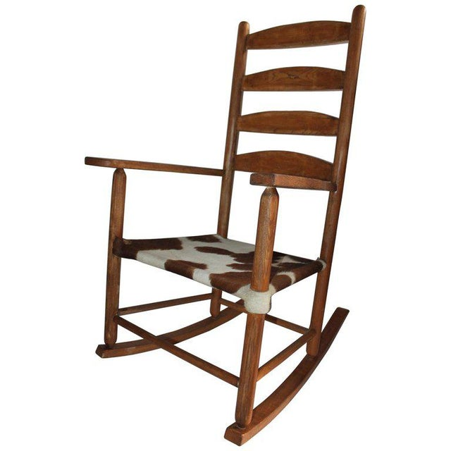 Early 20th Century South West Rocking Chair in Cowhide Seat For Sale - Image 12 of 12