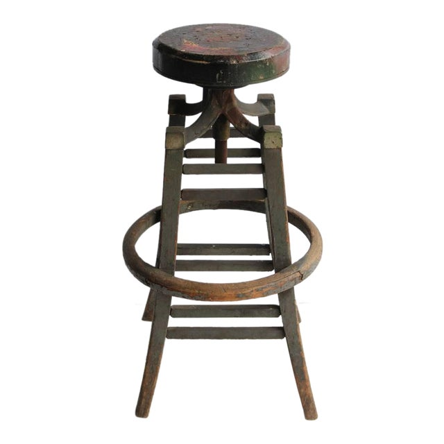 Antique Drafting Stool - Image 1 of 4