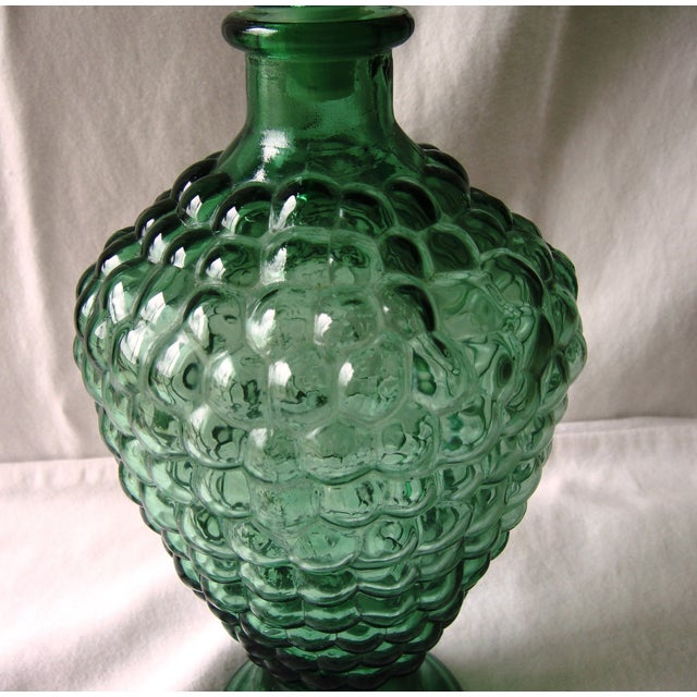 Vintage Dark Green Decanter with Bubble Motif For Sale - Image 4 of 7