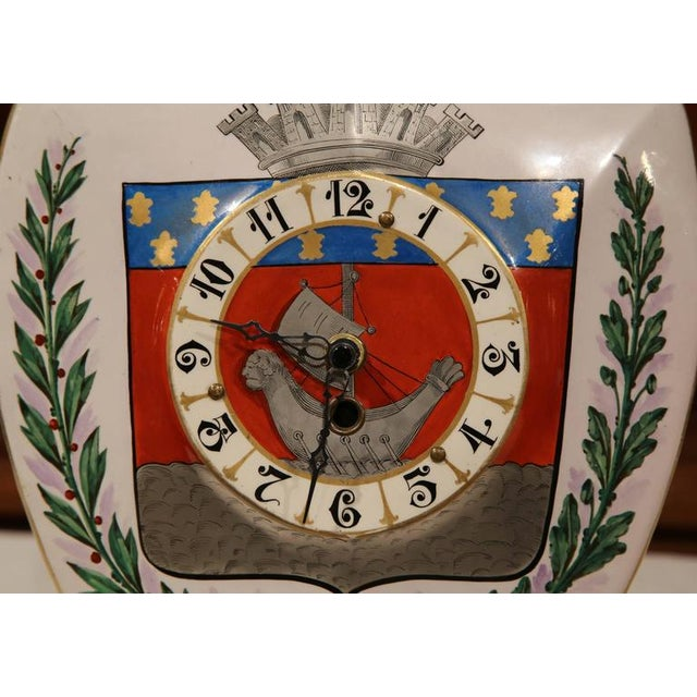 19th Century French Porcelain & Brass Paris Coat of Arms Desk Clock For Sale - Image 4 of 7