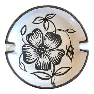 Bitossi Black White Flower Italian Pottery Ashtray For Sale