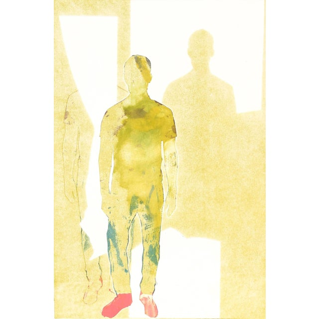 """Rob Delamater Rob Delamater """"Those Pink Sneaks X"""" Figurative Monotype in Yellow, 2015 2015 For Sale - Image 4 of 4"""