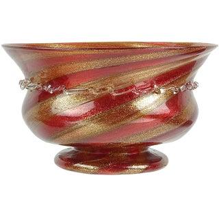 Antique Compagnia DI Venezia E Murano Italian Aventurine Ruby Cane Art Glass Footed Bowl For Sale
