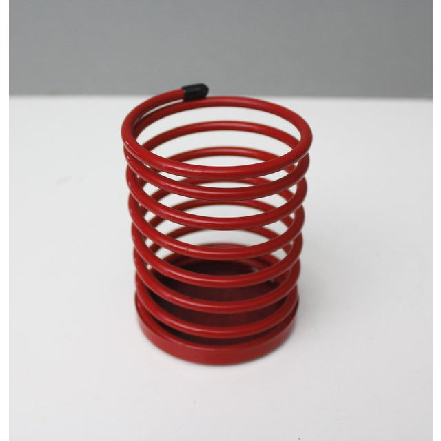 Modern Vintage Wire Pencil Cup Red Spiral Metal Desk Organizer Post Modern 90s For Sale - Image 3 of 6