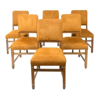 1920s Vintage Continental Art Deco Inlaid Dining Chairs- Set of 6 For Sale