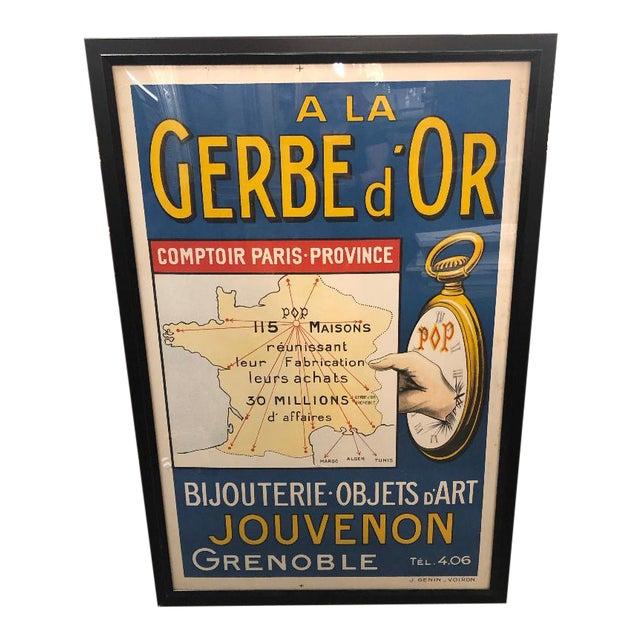 """Framed Vintage French """"A La Gerbe d'Or"""" Poster For Sale"""