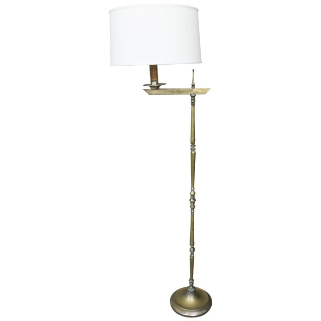 1950s French Bronze Floor Lamp With Extending Arm For Sale