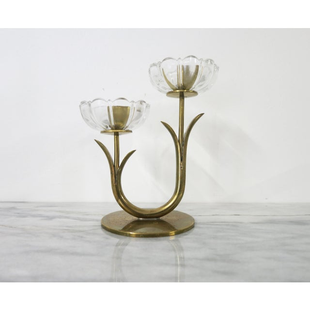 """Vintage 1950s Scandinavian designed brass and glass flower-shaped candle holder for 1/2"""" taper candles. This candle holder..."""
