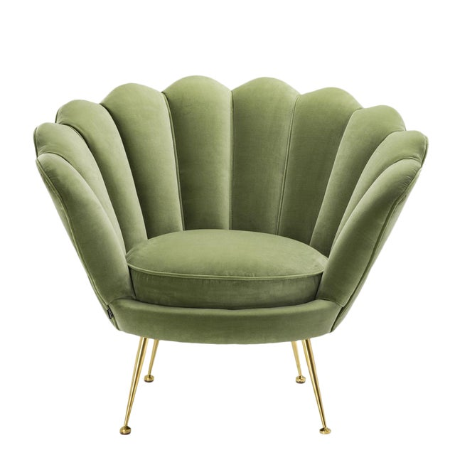 Modern Trapezium Green Shell Shaped Chair For Sale