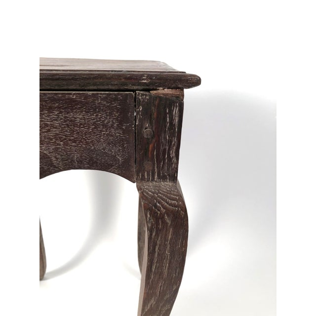 1920s Small Louis XV Style Walnut and Limed Oak Side Table For Sale - Image 5 of 11