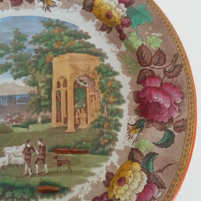 Green Antique Wedgwood Transferware Neoclassical Floral Ceramic Plate For Sale - Image 8 of 11