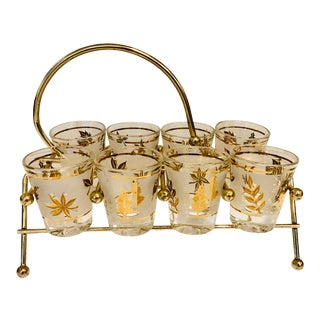 Mid Century Gilt Leaves Shot Glasses in Metal Holder - 9 Pieces For Sale