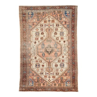 "Vintage Distressed Malayer Rug - 4'4"" X 6'3"" For Sale"