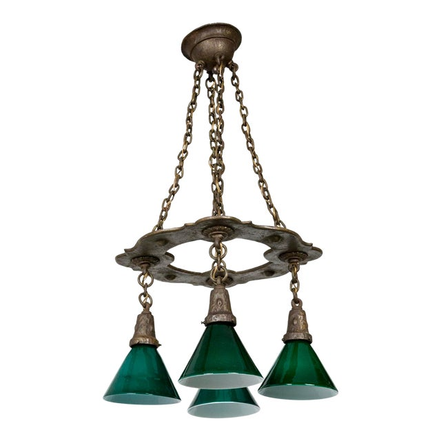 Arts & Crafts Hammered Darkened Metal Chandelier With Green Glass Shades For Sale