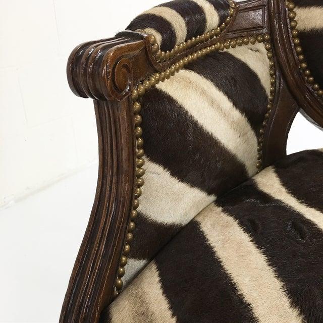 Louis XVI Style Walnut Bergere in Zebra Hide - Image 7 of 7