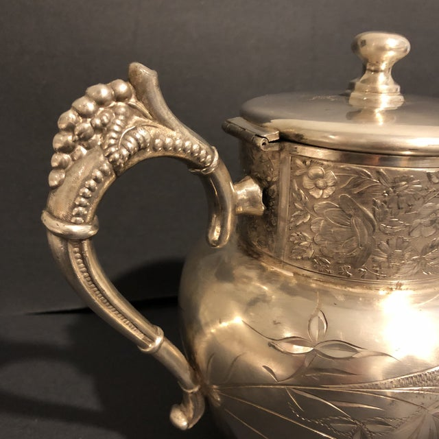 Art Nouveau Victorian Aurora Silver Plate Teapot For Sale - Image 3 of 13