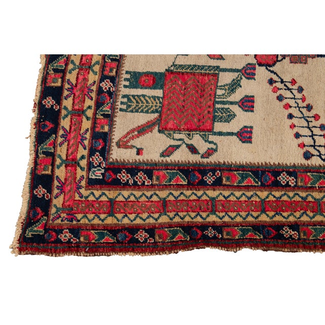 Mid-20th Century Vintage Persian Rug 4' 2'' X 6' 3''. For Sale - Image 10 of 12