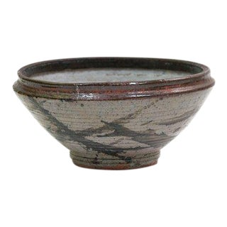 Vintage Mid-Century Hand-Thrown Bohemian Stoneware Bowl For Sale