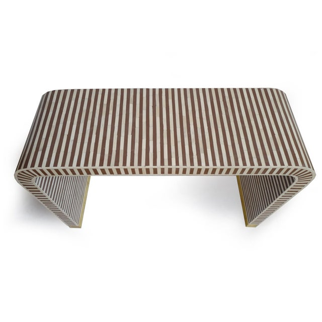 Contemporary Inlay Striped Waterfall Console Table Brown For Sale - Image 3 of 6