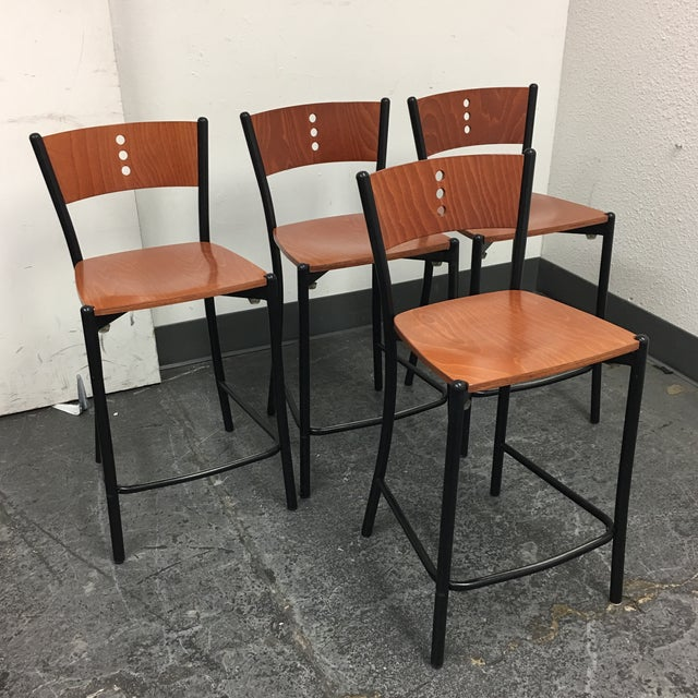 Contemporary Wood & Metal Counter Stools - Set of 4 - Image 3 of 8