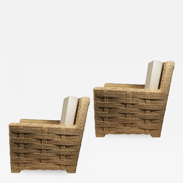 Canvas Audoux Minet Pair of Woven Rope Lounge Comfy Chairs For Sale - Image 7 of 7