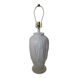 Vintage Frederick Cooper Dorothy Draper Style White Ceramic Draped Lamp For Sale