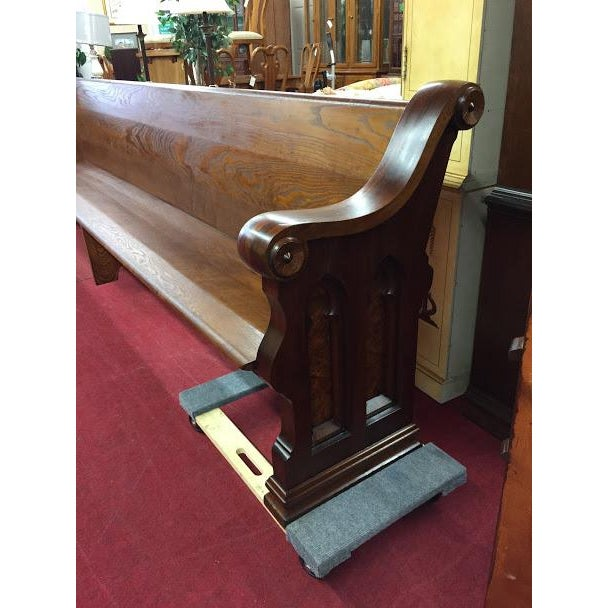 Antique Walnut and Ash Church Pew For Sale - Image 4 of 10