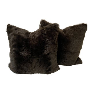 Ralph Lauren Chocolate Brown Shearling Pillows For Sale