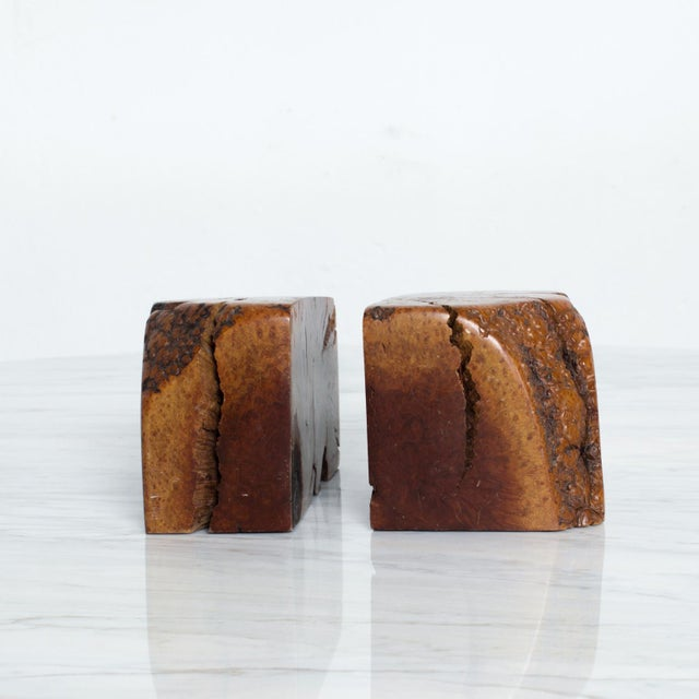 Mid Century Modern Burl Wood Bookends Attr Don Shoemaker For Sale - Image 11 of 11