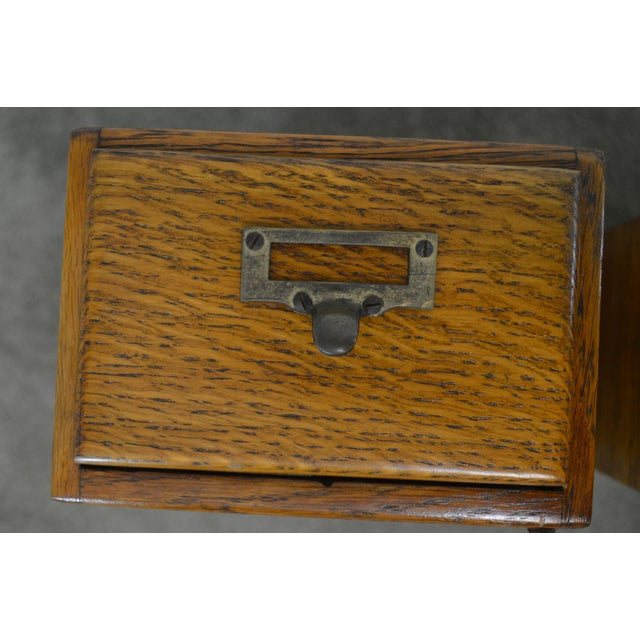 Antique Oak Pair of Desktop Library Card File Cabinets For Sale - Image 9 of 12