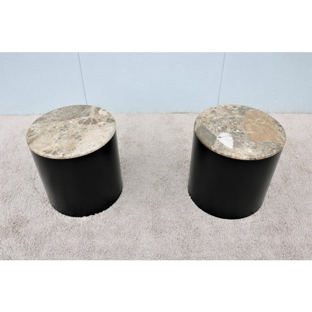 Stunning vintage Paul Mayen style pair of marble top cylinder drum side or end tables, Classic American Mid-Century Modern...