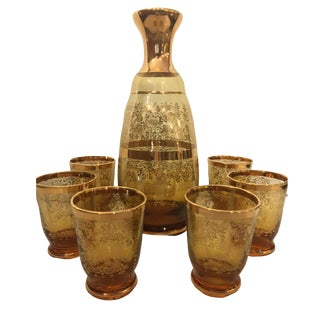 Gold Glass Italian Decanter Set For Sale
