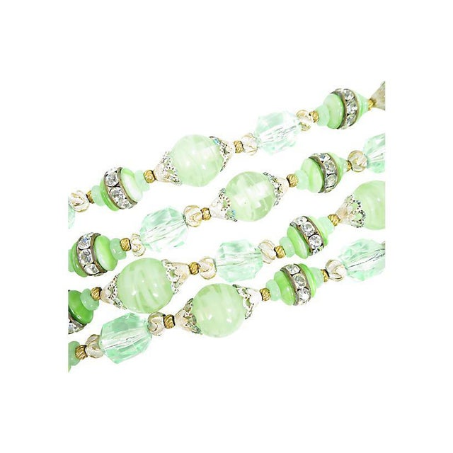 1950s Green Art Glass & Crystal Necklace, 1950s For Sale - Image 5 of 8